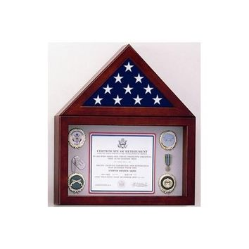 Flag Display Case with a Shadow Box Hand Made By Veterans