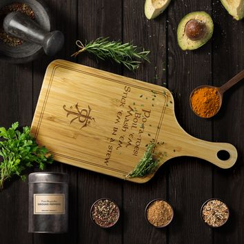 LOTR Po-ta-toes Laser Etched Bamboo Cutting Board with Handle