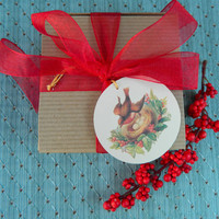 Vintage Inspired Gift Tag featuring Bird On Nest of Eggs Nestled in Holly. Set of 10