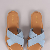 Bamboo Denim Crisscross Slide Sandal