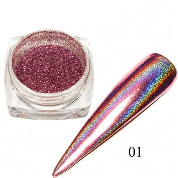 0.1g Holographic Nail Powder Mirror Effect Nail Art Chrome Pigment Laser Nail Glitter Bling Rainbow Manicure Dust LA01-06N