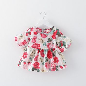 born baby summer outwear floral kids short sleeve dress baby girl's pricess dresses infant boutioues toddler soft clothing