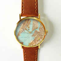 New York  Map Watch, Leather Watch, Women Watches, Boyfriend Watch, Men's Watch, Vintage Style Watch, Silver Gold Rose