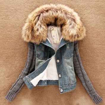 CREYUG3 woman winter coat with fur collar cotton long sleeve  denim jacket
