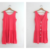 vintage pink mini dress tunic with buttons in the back