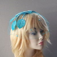 Aunt Mim's Netted Blue Felt Leaf Hat 1950s