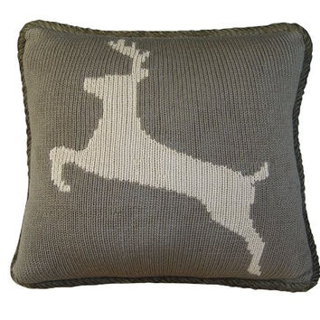 HiEnd Accents Hand Knitted Deer Accents Pillow backed in Corduroy