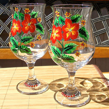 Hand Painted Red and Yellow Flowered Wine Glasses