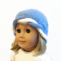 Blue and White Rope Braid Beanie for 18 Inch Dolls