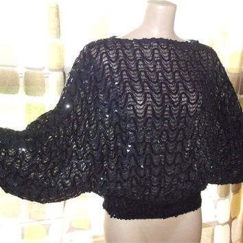 Vintage 70s 80s Avant-Garde Black Sequin Batwing Disco Blouse Top Shirt S-XL