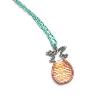 Pineapple Necklace, Wire Wrapped Pineapple Pendant, Cute Fruit Jewelry, Wire Wrap Jewellery, Novelty Pineapple Gift, Unique Tropical Jewelry