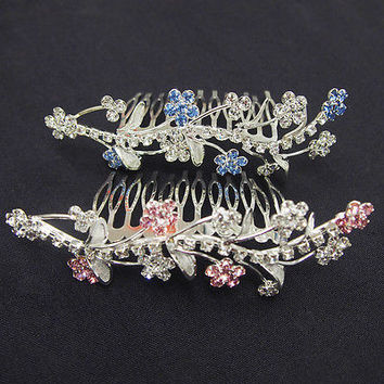 Rhinestone Comb Tiaras Crown Bridal Shower Wedding Flower Girl