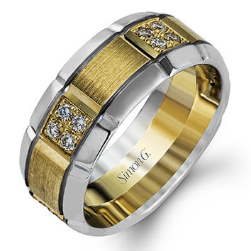 Simon G. White & Yellow Gold Two-Tone Grooved Diamond Men's Wedding Band