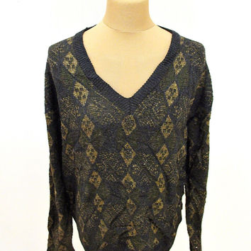Vintage 80s Jantzen V Neck Brown Diamond Pattern Sweater Jumper L