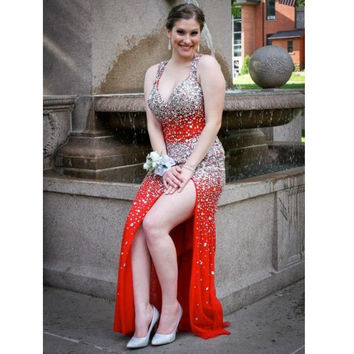 Gorgeous Halter red evening dresses beaded crystal sparkling mermaid prom dress backless party dress robe de soiree Custom Made