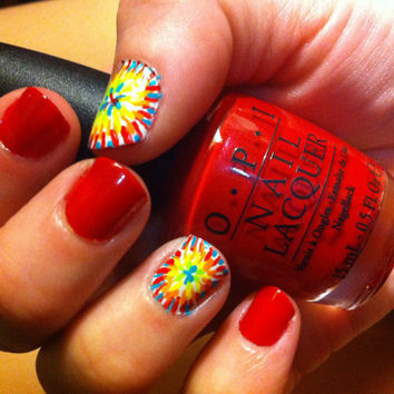 Tie Dye painted false nails by MadeByMace on Etsy