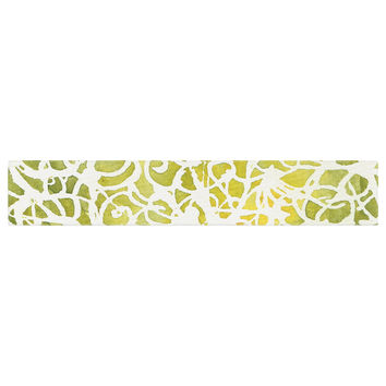 "Rosie Brown ""Spiral"" Green Abstract Table Runner"