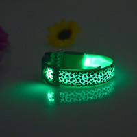 Pet Dogs Collar Safety LED Flash Light Collars Dog Leopard Collar Neck Strap Free Shipping