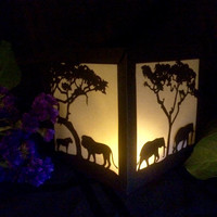 African Safari lantern luminary party decoration elephant lions lighted silhouette box