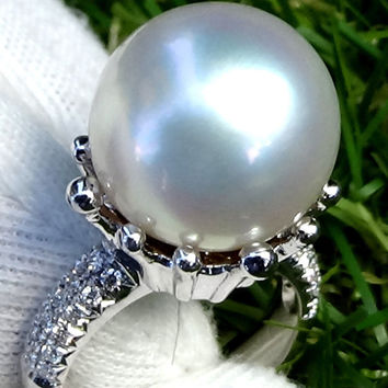 Pearl diamond ring, pearl ring vintage, pearl ring white gold, pearl ring gold, 18k gold ring , statement ring, white pearl ring,