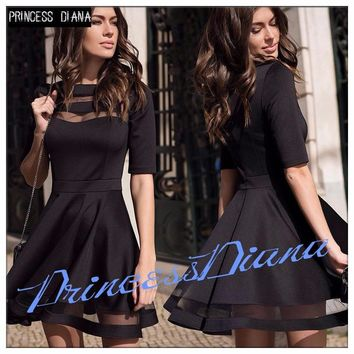 Womens Dresses New Arrival Summer Black European Casual Style Dress Ladies Knee Length Vintage Mesh Sexy Party Dress