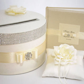 Wedding set - card box, ring pillow, guest book - ecru
