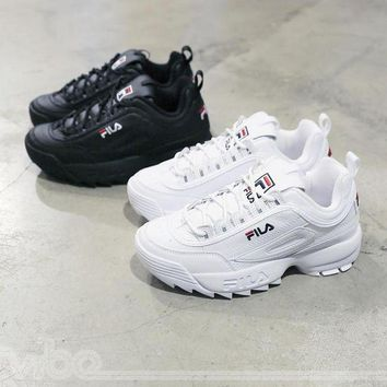 "VLX0E4 FILA Disruptor II 2 Running SHoes ""Black White�Men Women Sneaker FW0165-016"