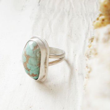 Natural light blue Royston turquoise sterling silver cocktail ring, freeform raw stone, minimalist forged artisan jewelry, size 6.5