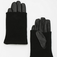 Knit-Trim Leather Glove