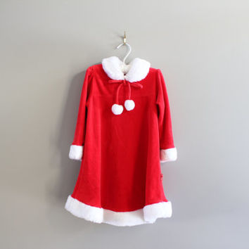 Toddler Christmas dress Santa Claus dress red micro velvet white pom pom Peter Pan collar size 3 - 4Y