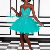 [95.99] Fashionable Tulle & Satin Spaghetti Straps A-Line Short Homecoming Dresses With Beads & Rhinestones - dressilyme.com