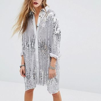 Religion Oversized Longline Shirt In Silver Sequin at asos.com