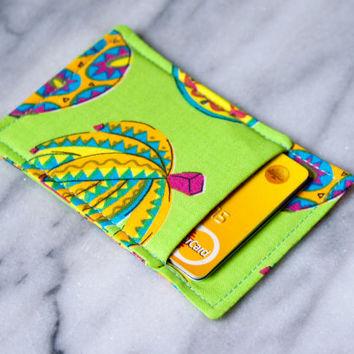Tropical thin wallet, Minimalist wallet, Business card holder, Business card case, Slim card wallet,  Pineapple, Banana, Green, Tropical