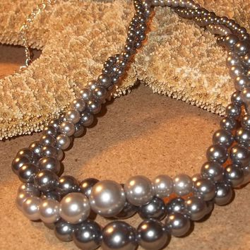 "Shades of Grey Triple Twisted Strand Vintage Faux Pearl Beads Adjustable 20""-22"" Necklace"