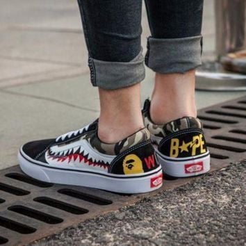 f3e6635244 PEAPNW6 Sale BAPE x Vans Old Skool Custom Sharktooth Low Sneakers Convas  Casual Shoes CK-