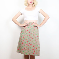 Vintage 70s Midi Skirt Khaki Red Green CHERRY Print Kitsch Adjustable Wrap Skirt Hippie 1970s Skirt Knee Length Spring Pockets S M Medium
