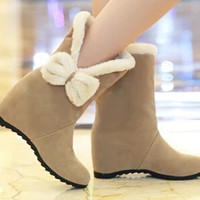 Women new fashion spring fall snow boots bow solid color cotton-padded shoes female large plus size 40-43