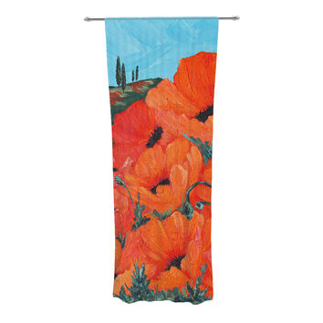 "Christen Treat ""Poppies"" Decorative Sheer Curtain"