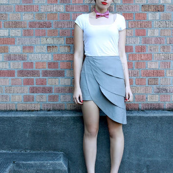 $110.00 Grey origami petal skirt  by Minxshop