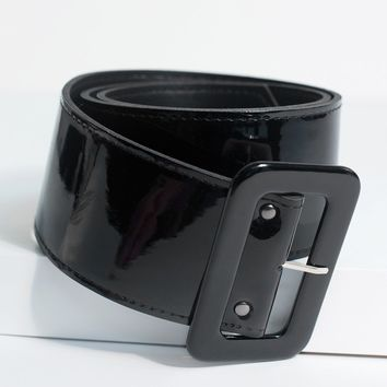 Hell Bunny 1950s Style Black Patent Leather Kailey Belt