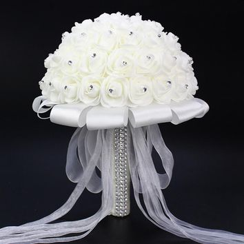 Romantic Wedding Bride Bridesmaid Holding Rose Luxury Artificial Flower Bouquet Bride Bouquet Wedding Flowers Home Decor