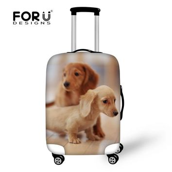FORUDESIGNS Travel Accessories Cute Animal Dachshund Dog Print Trolley Case Apply 18 to 30 Inch Suitcase Thick Elastic Protector