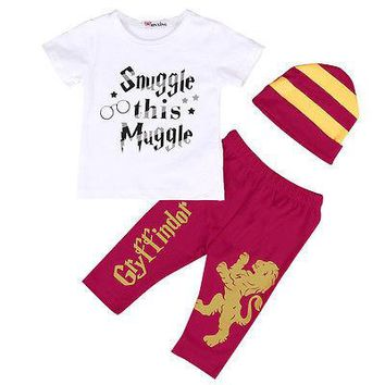 Infant 3 pcs  T-shirt, Pants and Hat Striped Outfits 9-24M  (Harry Potter)