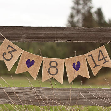 Save The Date Burlap Wedding Banner, Photo Prop, Wedding Date, Custom Color glitter hearts & date