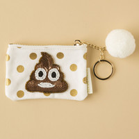 Poop Emoji Applique Mini Pouch