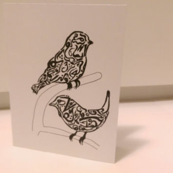 Birds Cards Arabic Calligraphy any occasion set (blank inside, folded card)