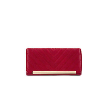 Red Chevron Faux Leather Wallet