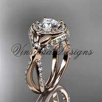"14k rose gold leaf and vine, flower engagement ring, ""Forever One"" Moissanite VD10065"