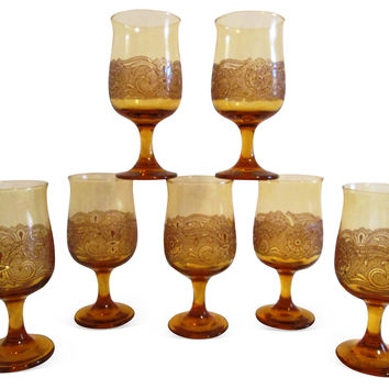 Amber Floral Lace Goblets, S/7