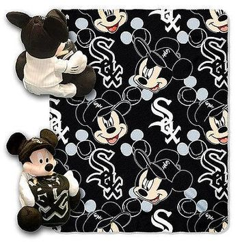 "CHICAGO WHITE SOX 40""X50"" DISNEY MICKEY MOUSE HUGGER PILLOW & THROW BLANKET SET"